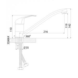 Смеситель Rossinka A35-21U для кухни