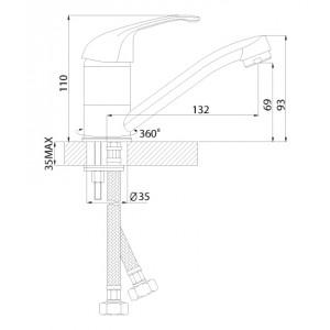 Смеситель Rossinka A35-22U для кухни