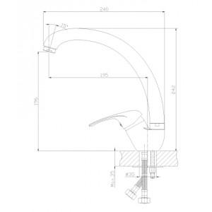 Смеситель Rossinka A35-25 для кухни