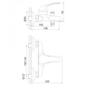 Смеситель Rossinka A35-31 для ванны