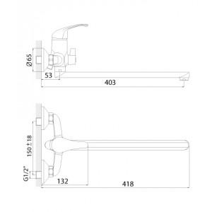 Смеситель Rossinka A35-32 для ванны