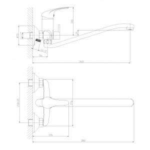 Смеситель Rossinka A35-34 для ванны