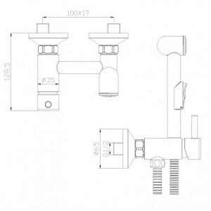 Гигиенический душ Rossinka X25-52 со смесителем