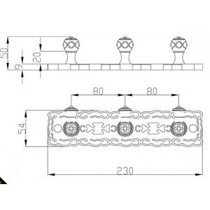 Zorg AZR 17 Br 3 крючка на планке бронза
