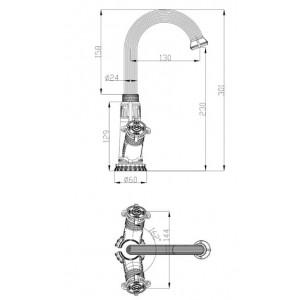 Смеситель Zorg A 1004U-BR бронза для умывальника