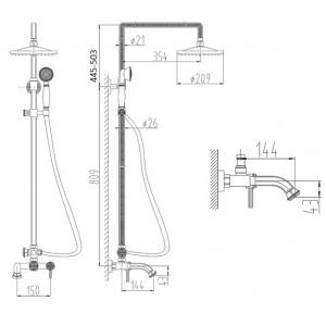 Душевая система Zorg A 201DS-BR бронза